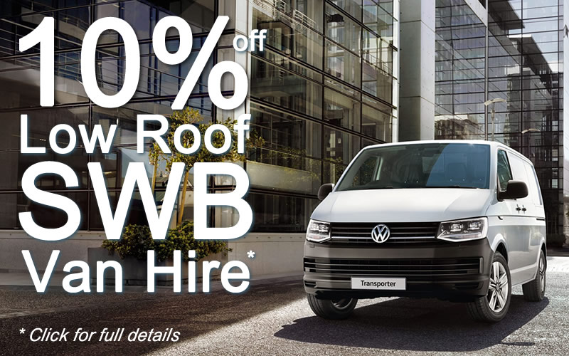 Get 10% off Low-Roof SWB Van Hire - click for full details.