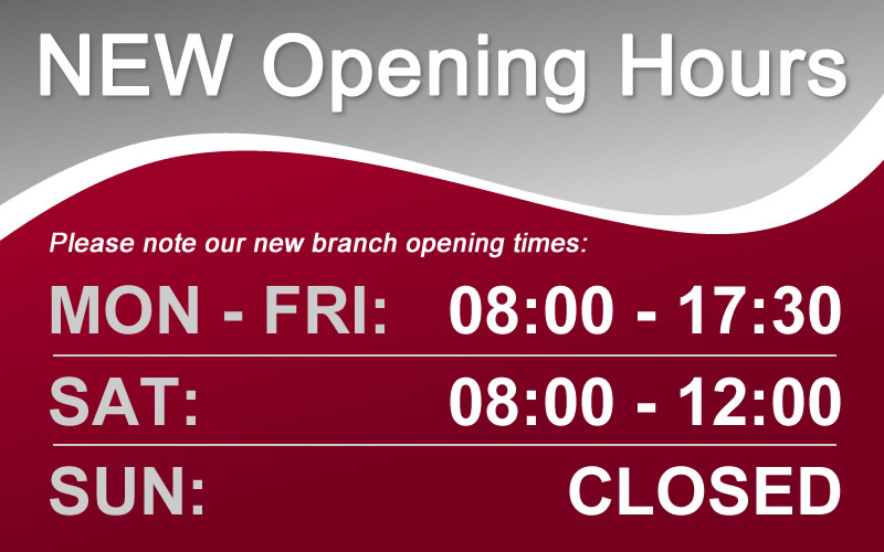 Our opening hours have changed!