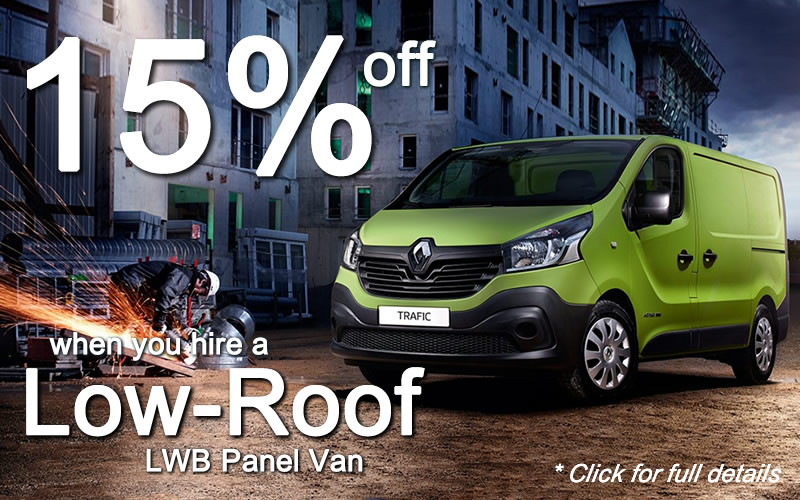 Get 15% off Low-Roof LWB Van Hire throughout August and September 2019 - click for full details.