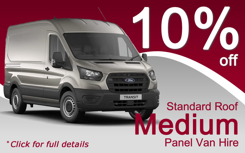 Hire a Standard Roof Medium Panel Van from Limesquare this June or July with 10% off the hire rate - click for full details and terms and conditions.